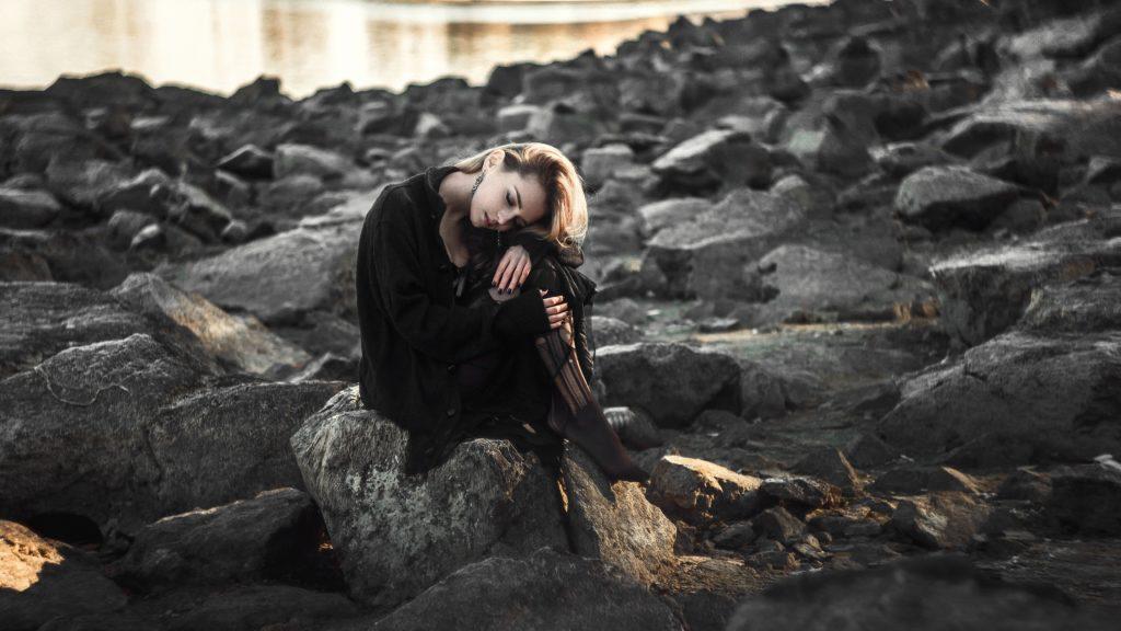 Bipolar Girl Sitting Sad.
